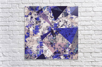 psychedelic geometric triangle polygon pattern abstract in blue and pink  Acrylic Print