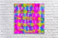 plaid pattern painting texture abstract background in pink purple blue yellow  Acrylic Print