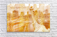 Graphic Art MANHATTAN Collage | golden  Acrylic Print