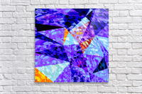 vintage psychedelic geometric triangle polygon pattern abstract in purple blue orange  Acrylic Print