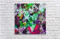 vintage psychedelic geometric square pixel pattern abstract in green red purple yellow  Acrylic Print