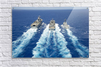 USS Peleliu and USS Spruance conduct a replenishment at sea with USNS Rainier.  Acrylic Print