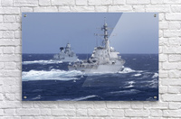 USS Carney practices diversion tactics with the German frigate Sachsen.  Acrylic Print
