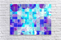 geometric square and circle pattern abstract in blue  Acrylic Print