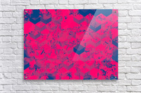 geometric square pattern abstract in pink blue  Acrylic Print