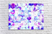 geometric square and circle pattern abstract background in pink blue  Acrylic Print