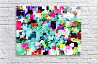 geometric square pixel pattern abstract in green pink blue yellow  Acrylic Print