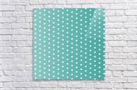 Teal Green Heart Shape Pattern  Acrylic Print