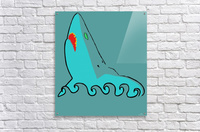 an abstract illustration of the blue shark head in blue background vector  Acrylic Print