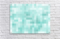 geometric square pixel pattern abstract in green  Acrylic Print