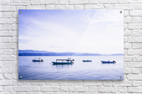 Sunrise in the Osa peninsula with boats in harbour  Acrylic Print
