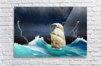Dangerous journey sailing ship.   Acrylic Print