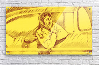 A drawing Of Elvis Presley In a Car Painted Yellow.     Acrylic Print