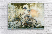 Kid And His Sister On A  Bicycle  Painting    Acrylic Print