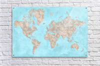 highly detailed watercolor world map in neutrals and light blue  Acrylic Print