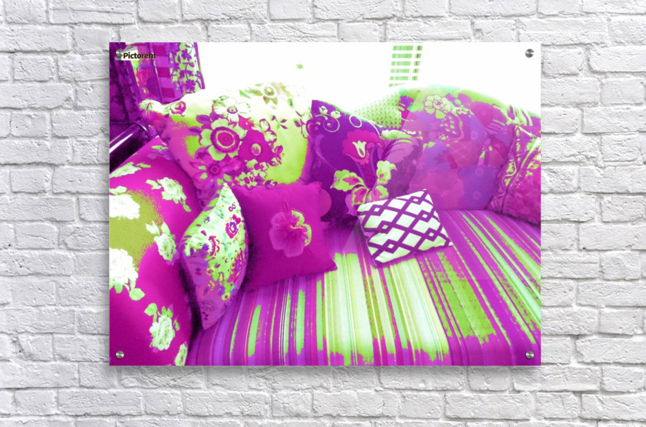 Sofa & Pillows -- Purple & Green  Acrylic Print
