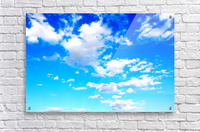 Bright Sky Blue with Clouds Colorful Scenic Background  Acrylic Print