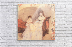 Edma, the sister of the artist with her daughter by Morisot  Acrylic Print