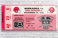 1973_College_Football_Oklahoma vs. Nebraska_Owen Field_University of Oklahoma Football Tickets  Acrylic Print