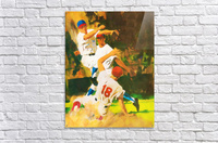 vintage watercolor style baseball art poster print sports artwork row one collection  Acrylic Print