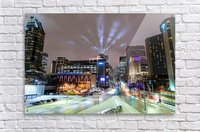 Close up city buildings at night  Acrylic Print