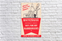 white tower hamburger ad  Acrylic Print