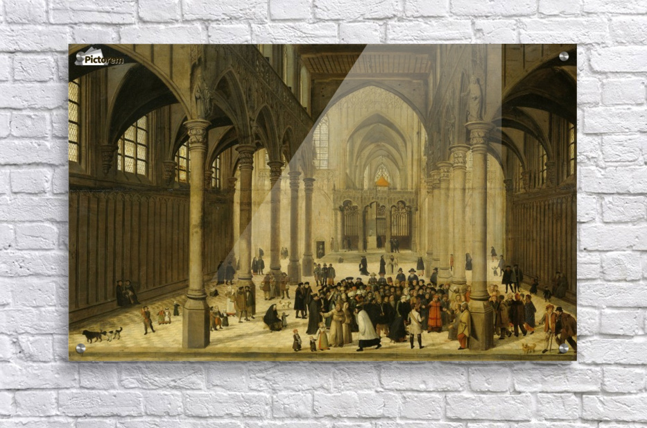 Church interior with Christ preaching to a crowd  Acrylic Print