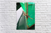 Green Fishing Boat and Anchor In Harbour  Acrylic Print