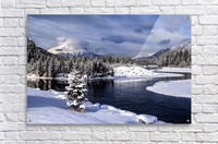Snowy Bow River Canmore Alberta  Acrylic Print