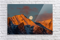 Super Moon Setting Behind Rundle Mountain  Acrylic Print