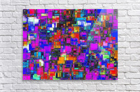 geometric square shape pattern abstract background in pink blue orange  Acrylic Print