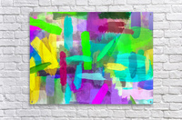 splash brush painting texture abstract background in green blue pink purple  Acrylic Print