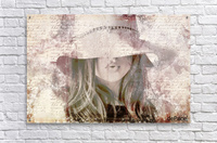 Lovely Girl with Hat on Vintage paper  Acrylic Print