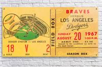1967 la dodgers atlanta braves baseball sports ticket art   Acrylic Print
