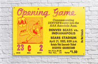 1955 aaa baseball denver bears opening game baseball ticket stub frame canvas  Acrylic Print