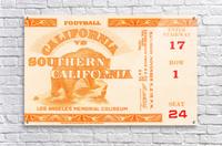 1938 cal bears usc trojans football ticket stub art la coliseum  Acrylic Print
