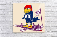 Vintage Kansas Jayhawk Standing Over K-State Wildcat Art  Acrylic Print