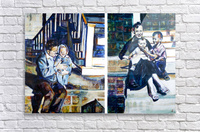 Louisiana father and Mother at the Stairs Diptych with Vintage Recipe Collage  Acrylic Print