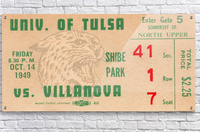 1949 Tulsa vs. Villanova Football Ticket Stub Wall Art  Acrylic Print