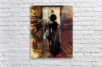 Woman in front of the painting White pastel picture by Giovanni Boldini  Acrylic Print