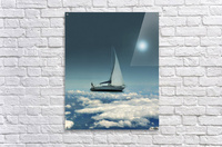 Navigating Trough Clouds Fantasy Collage Photo  Acrylic Print
