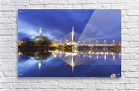 Canadian Museum for Human Rights and Esplanade Riel bridge reflected in the Red River; Winnipeg, Manitoba, Canada  Acrylic Print