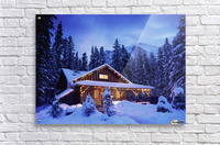 Cabin in the woods illuminated by Christmas lights  Acrylic Print