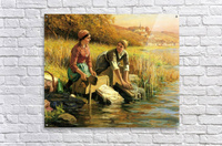 Women washing clothes by a stream  Acrylic Print