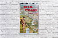 Original vintage poster golf Cambrian railways Mid Wales river  Acrylic Print