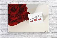 I Love You Card Beside Roses  Acrylic Print