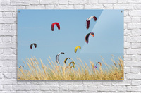 Kites Of Kite Surfers In Front Of Hotel Dos Mares; Tarifa, Cadiz, Andalusia, Spain  Acrylic Print