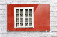 Red Timber House And Window Frame In The Old Town; Porvoo, Finland  Acrylic Print