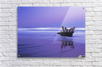 Waves break on the beach at dawn; Winchester Bay, Oregon, United States of America  Acrylic Print