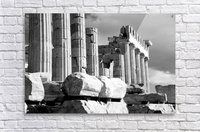 Mono piles of stones before ruined Parthenon; Athens, Attica, Greece  Acrylic Print